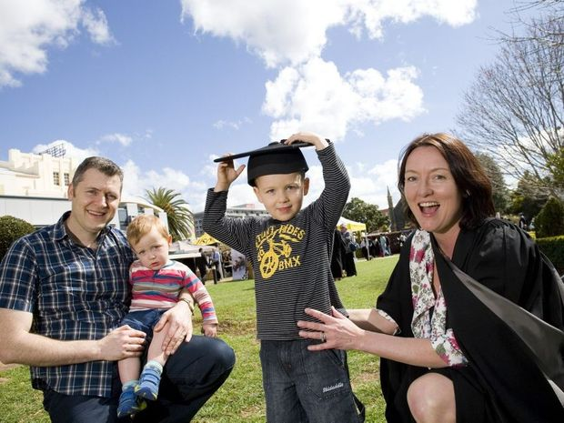 Masters of Project Management graduate Sharen Sordo (correct) with husband John Sordo and children Leighton (left) and Jackson.