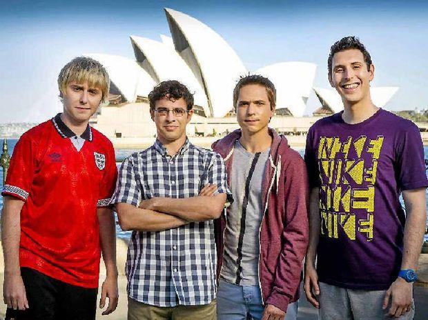 James Buckley, Simon Bird, Joe Thomas and Blake Harrison star in the movie The Inbetweeners 2.