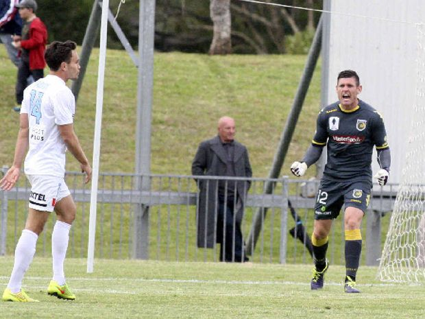 REDDY TO GO: Central Coast Mariners goalkeeper Liam Reddy vents his frustration after making another save during the friendly match against Melbourne City match at Oakes Oval.