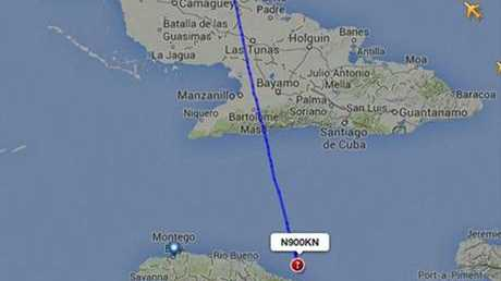 The route of the that plane crashed off the island of Jamaica.