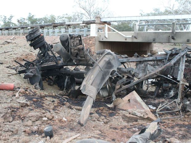 Queensland police have released images of the area surrounding a truck explosion in Charleville overnight on the Mitchell Highway.