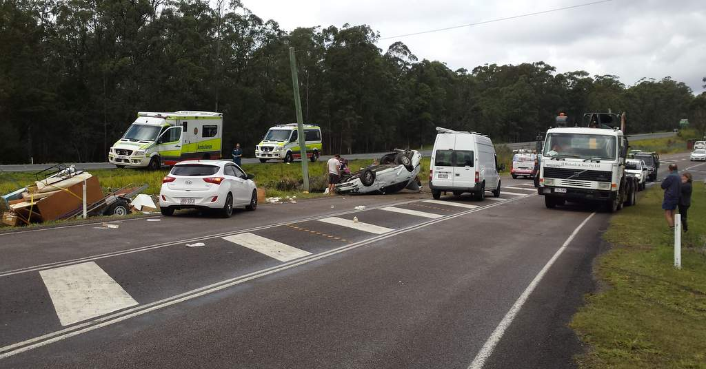 Just after midday, there was a single vehicle rollover on Nambour Connection Rd at Kulangoor.