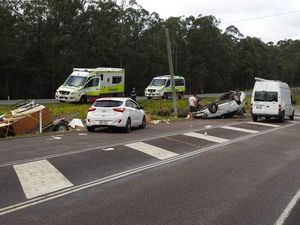 Car flips on roof in crash near Nambour