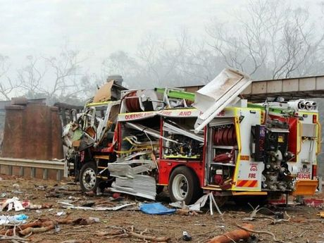 A destroyed fire truck following an ammonium nitrate explosion in September. A truck carrying the same chemical rolled in Central Queensland, spilling the chemical across the Carnarvon Highway