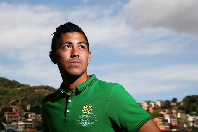 VITORIA, BRAZIL - JUNE 03: Massimo Luongo of the Socceroos poses following an Australian Socceroos press conference discussing the 23-man squad for the FIFA 2014 World Cup Brazil at Arena Unimed Sicoob on June 3, 2014 in Vitoria, Brazil. (Photo by Cameron Spencer/Getty Images)