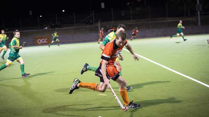 Meteors' Mitchell Ryan during the men's A1 final between the Sparks and Meteors at the Gladstone and District Hockey Association Grand Finals Day, 2014.