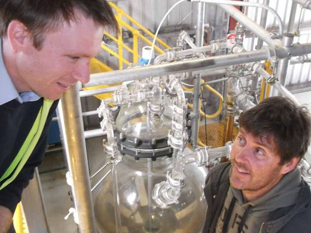 PRODUCTION: Andrew Reeves and Dr Tony Banks have had success turning plant waste into ethanol.