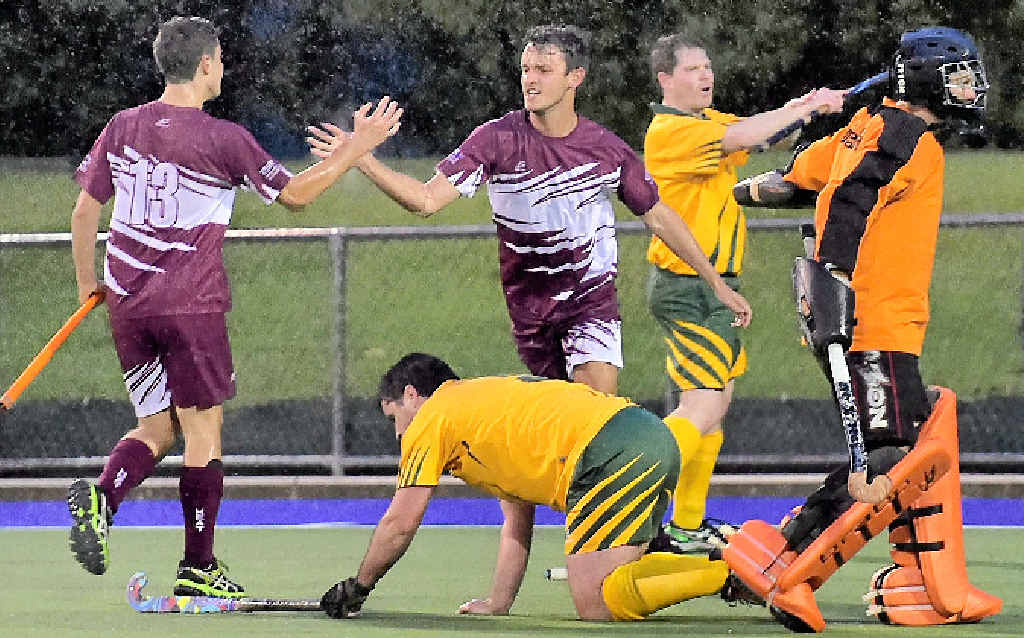 THAT'S THE GAME: Jack McKean celebrates scoring the Cooloola Heat's fourth goal in the preliminary final on Sunday.  MORE PHOTOS PAGE 21.