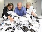 Lowana Moxham, Paul Casos and Sylvia Norton from Ipswich Events Corp prepare to draw the major prize winner in the QT City Pride competition. Photo: Rob Williams / The Queensland Times