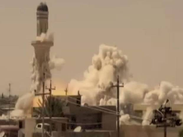 Footage of a mosque being blown up in a US anti Isis video.