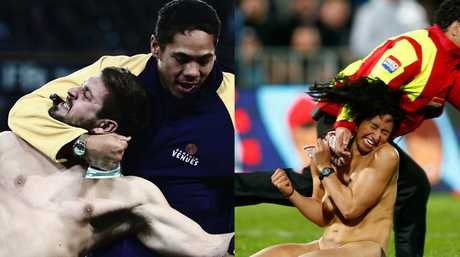 Adam Holtslag (L) has complained of being treated differently to Rose Kupa (R) who streaked during Saturday's test match between the All Blacks and Argentina.