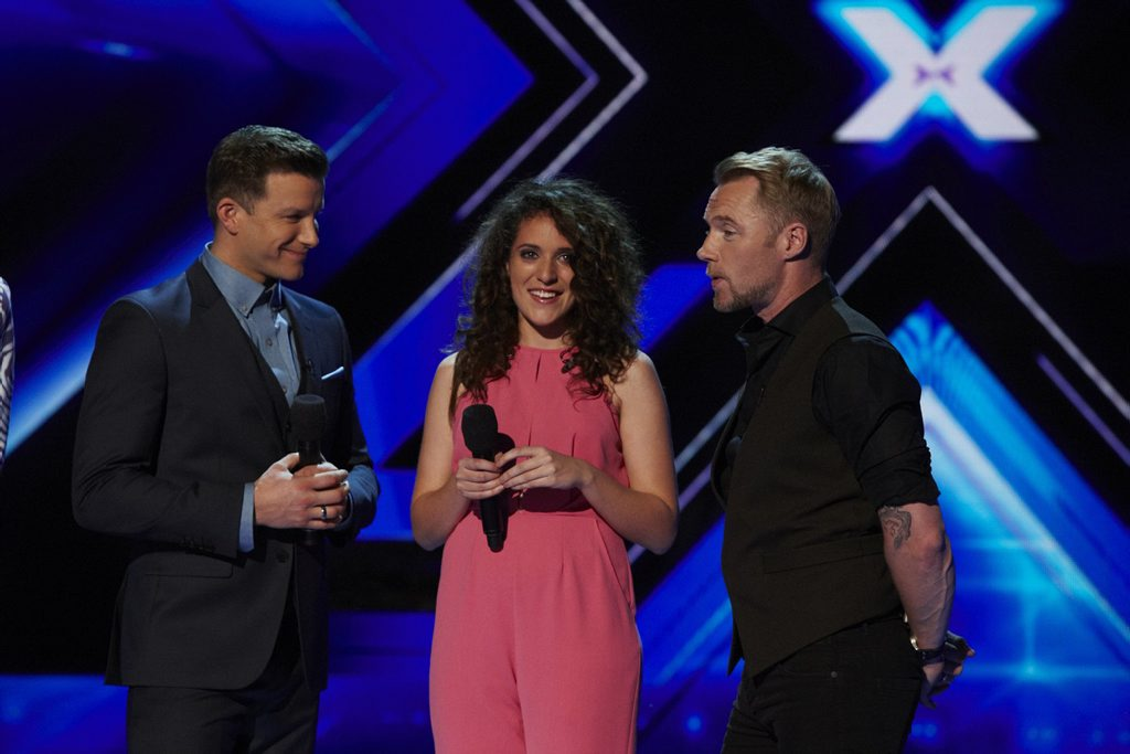 Eliminated X Factor Australia contestant Sydnee Carter pictured with host Luke Jacobz and mentor Ronan Keating.