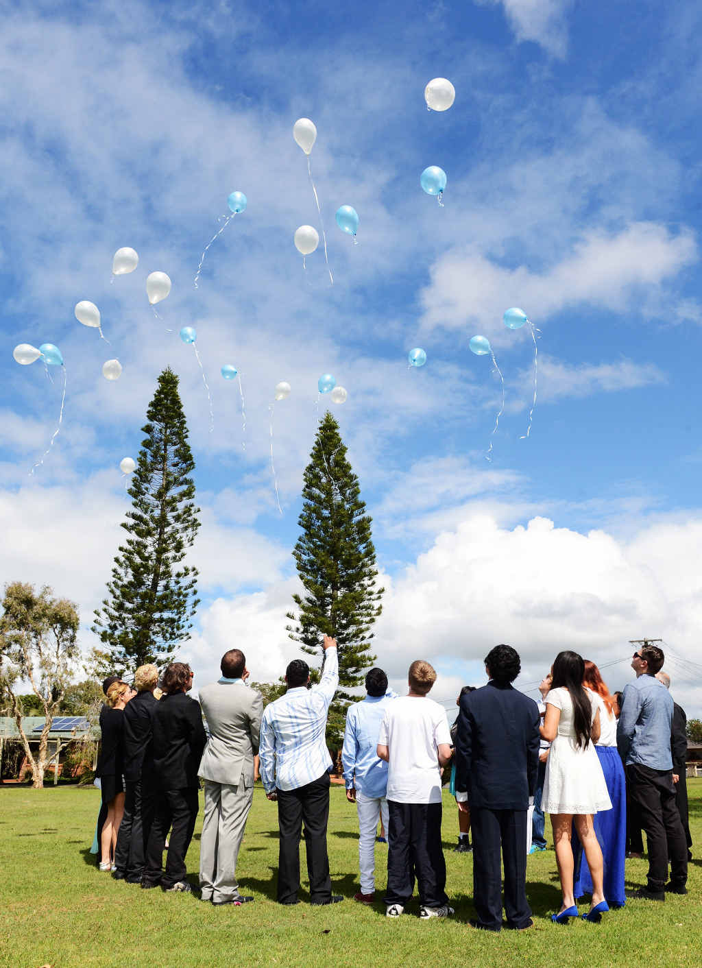 Balloons were released at the funeral of Richard James Wells at the Rainbow Chapel in West Ballina. Mr Wells died in a car crash at Newrybar last week.