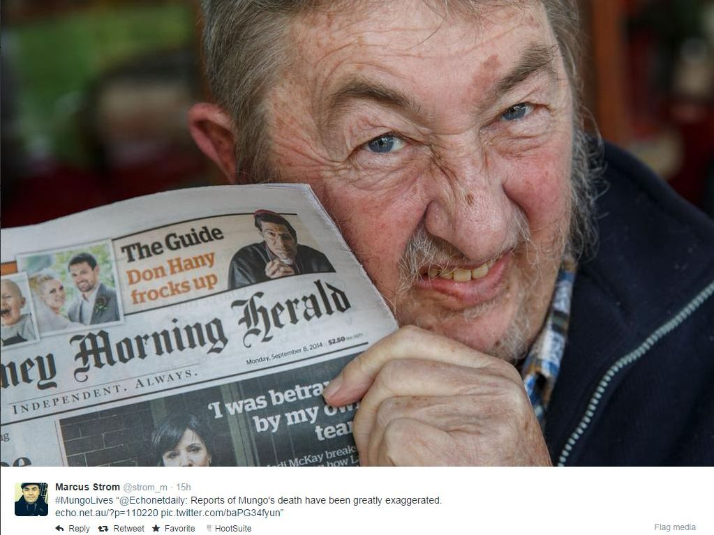 PROOF OF LIFE: A picture posted to Twitter of Mungo Maccallum holding yesterday's Sydney Morning Herald.