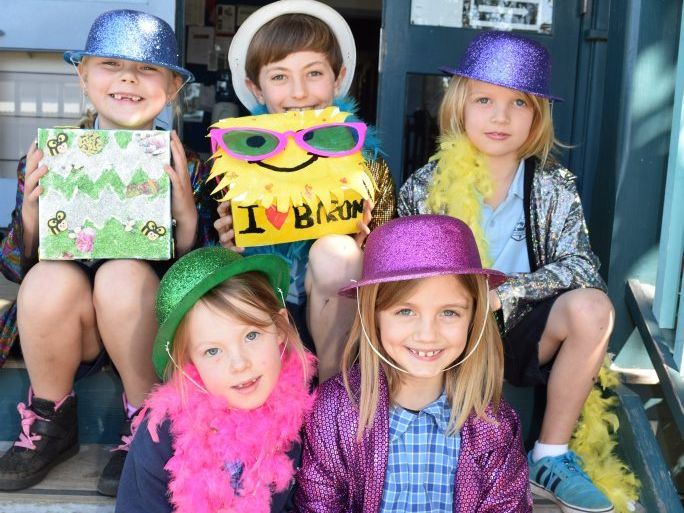 EXCITED: Back- Shyla, Jesse and Atticus. Front- Bonnie and Amasra from Byron Public School getting ready for the Fair.