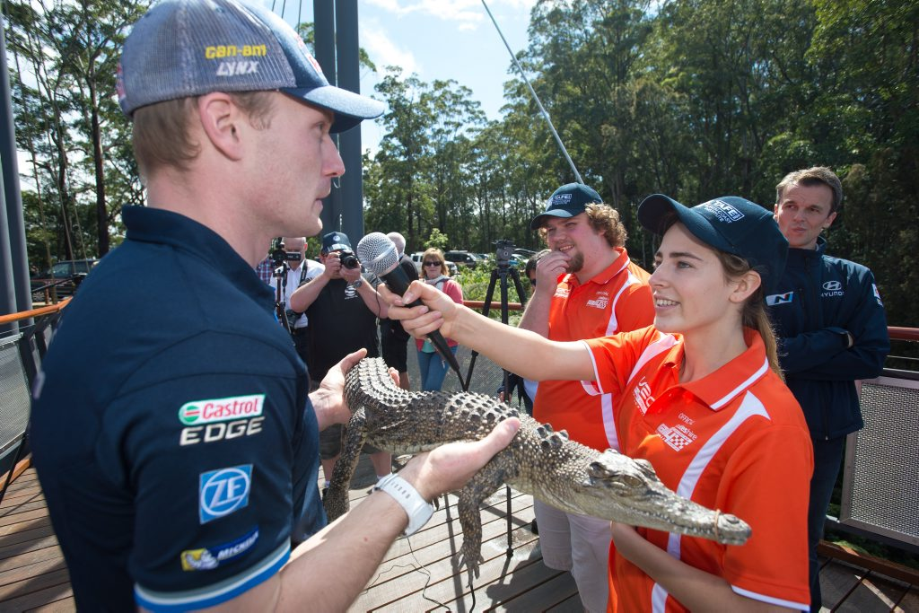 EXPERIENCE: TAFE students are using the Coates Hire Rally Austrlia to gain important skills for their future professions. One student is seen here interviewing Mikko Hirvonen. Photo: Trevor Veale / Coffs Coast Advocate