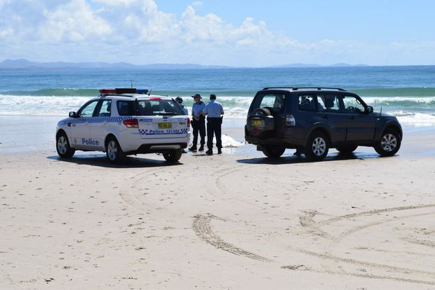 FATAL: The scene at Clarkes Beach this morning following the fatal shark attack.