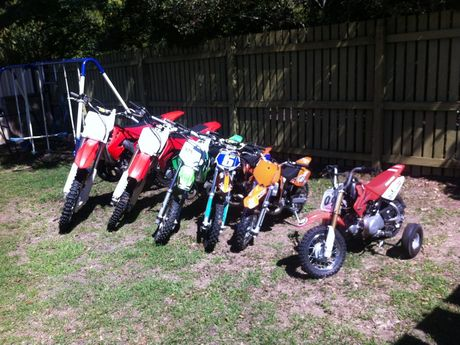 Camira resident Steven Holland had five motorcycles stolen from his property on Father's Day. The only bike that wasn't stolen is the little one on the far right. Photo: Rob Williams / The Queensland Times Photo: Contributed