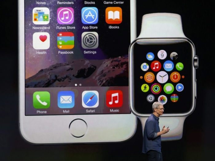 Apple CEO Tim Cook introduces the new Apple Watch iPhone 6 and iPhone 6 Plus during Apple's launch event at the Flint Center for the Performing Arts in Cupertino, California, USA, 09 September 2014.