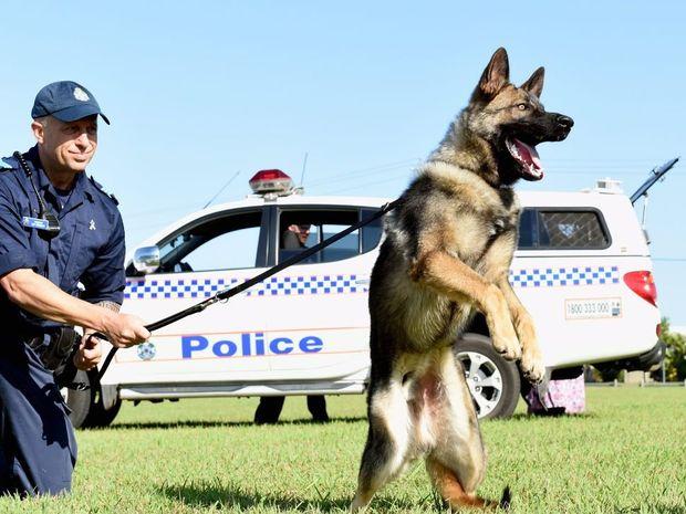 Sergeant Ian Grigoris with recruit dog Rambo.
