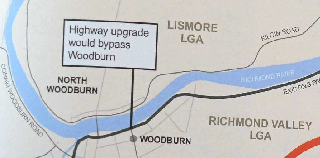 The planned bypass route for Woodburn.