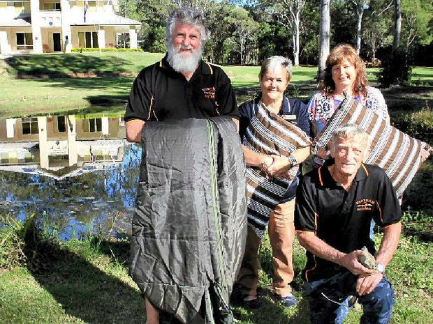 UNSEEN PROBLEM: Vietnam Veterans Association of Australia Queensland's Paul Cooke, Gwen Moseley, Rob Moseley with Here to Home's Charmaine Mills prepare for Exercise Stone Pillow at Remembrance House in Burpengary.
