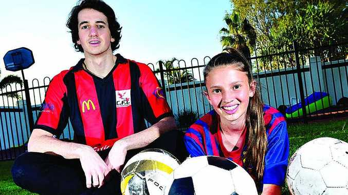 FAMILY TANGLE: James and Brooke Tait are both playing in soccer grand finals this weekend.
