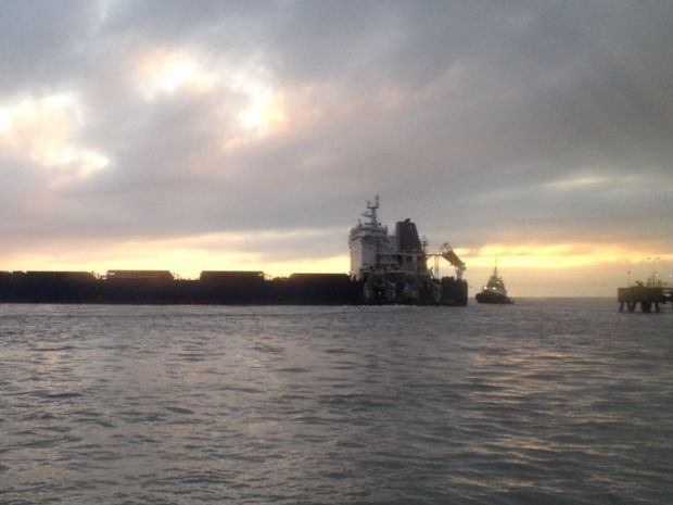A ship broke its moorings in Gladstone harbour on Wednesday morning.
