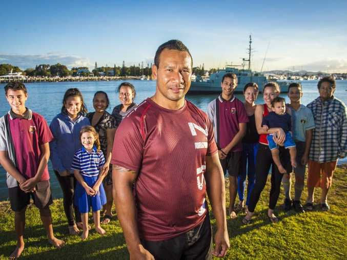 Leon (Eddie) Abdul-Rahman surrounded by friends and family at Spinnaker Park, Gladstone.