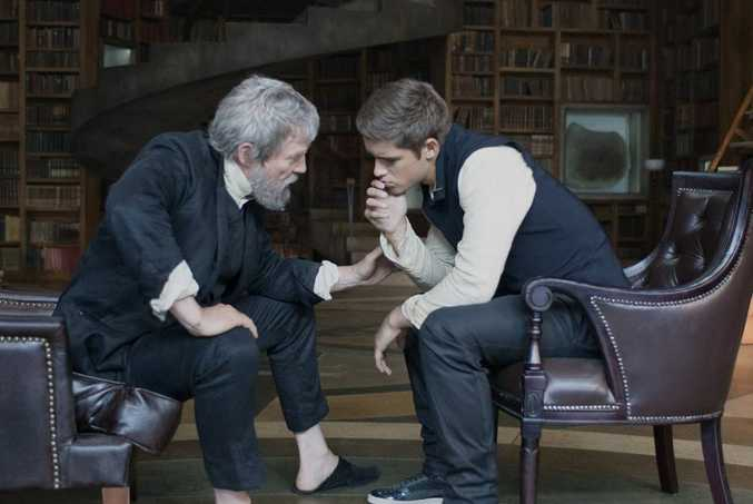 Jeff Bridges and Brenton Thwaites in The Giver.