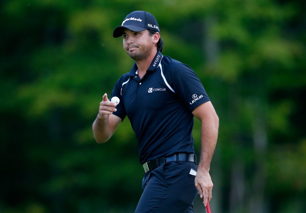 NORTON, MA - SEPTEMBER 01: Jason Day of Australia picks up his ball on the third hole during the final round of the Deutsche Bank Championship at the TPC Boston on September 1, 2014 in Norton, Massachusetts. (Photo by Jared Wickerham/Getty Images)