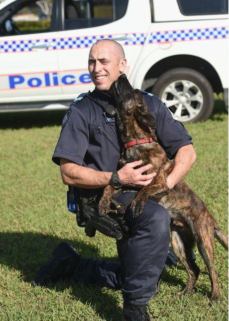 Recruit Dog Danko with Senior Constable Brendon Dellow.