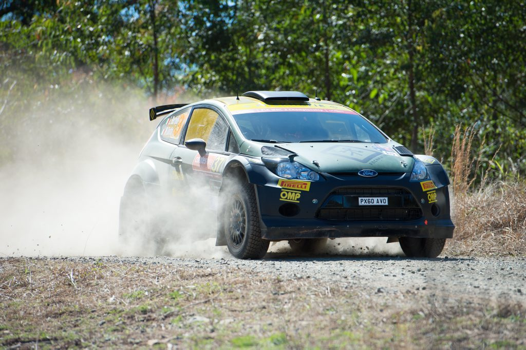 Italian driver Lorenzo Bertelli leads the WRC2 title chase heading into the Coates Hire Rally Australia. Bertelli is pictured here during the shakedown at Hydes Creek. Photo: Trevor Veale / Coffs Coast Advocate