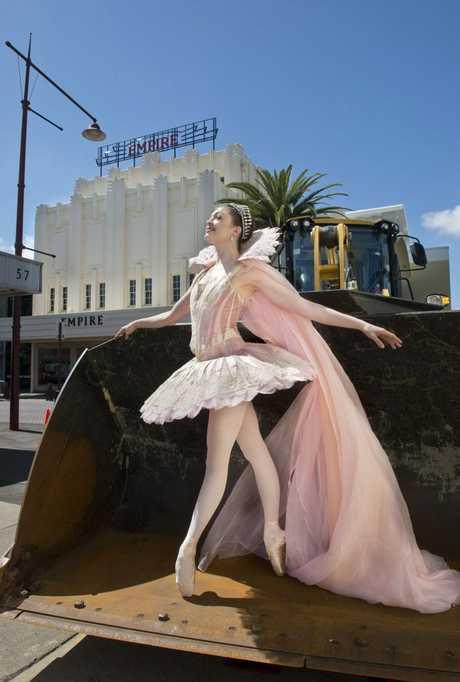 Clare Morehen, principal dancer for Queensland Ballet's regional tour of Cinderella outside the Empire Theatre.