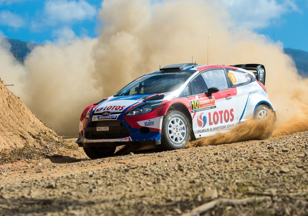 Coates Hire WRC rally, Stage 1 Hydes Creek Glennifer. Robert Kubica. 12 September 2014. Photo Trevor Veale / Coffs Coast Advocate