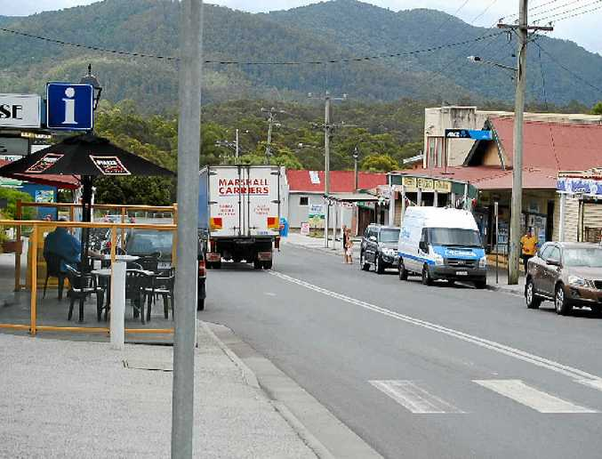 NUDIST: A truck going through sleepy Rosebery in Tasmania where a naked man was spotted running recently.