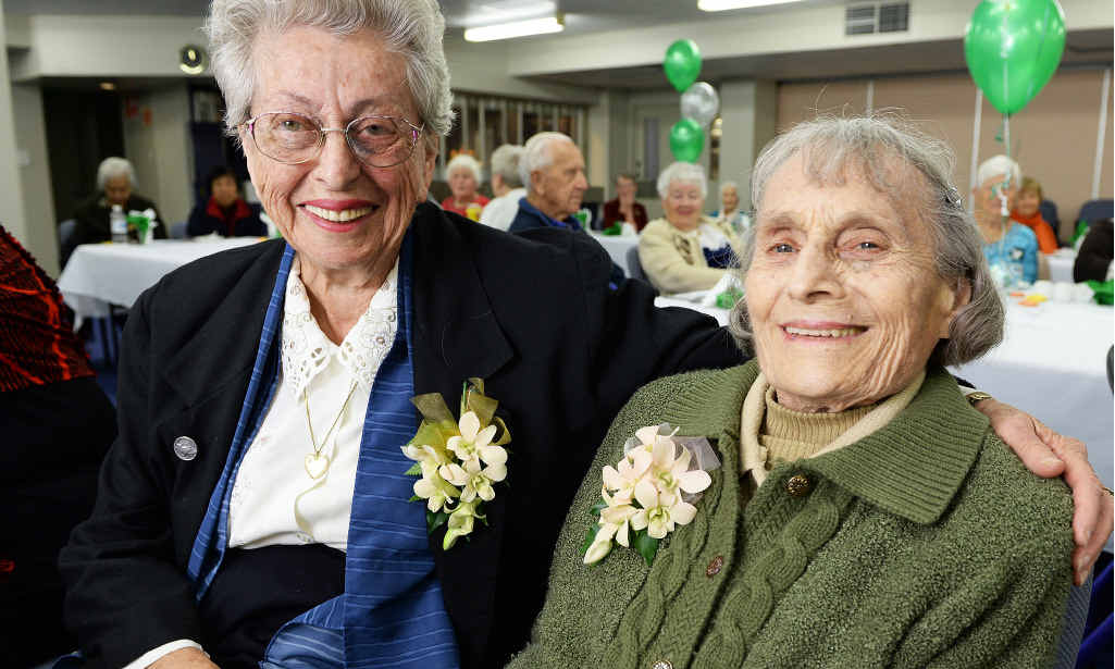 FIRM FRIENDS: Foundation members of the War Widows Guild, Delveen Pears (left) and Myrtle Zahnow, enjoy the 40th anniversary lunch.