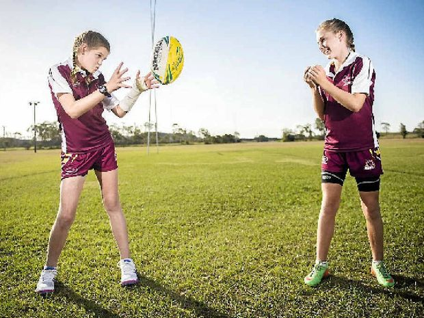 Lilly Peachey and Sophie Duff made the under-12 Central Queensland touch football state side.