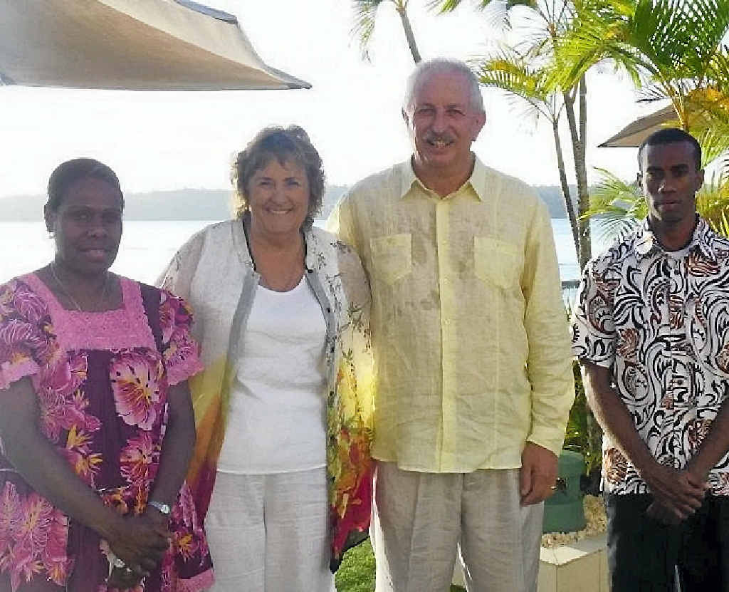 JUST MARRIED: Wendy Westbrook and David Rudd (with witnesses) wed at Port Vila, Vanuatu.