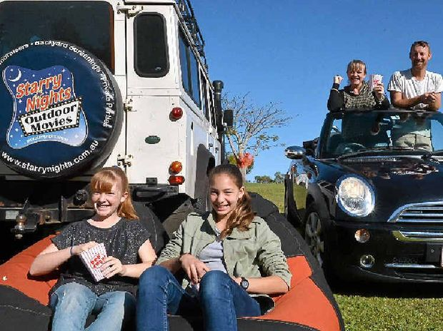 SCREEN TEST: Matilda Harrison, Layla Bradley and Kate and Trent Harrison get ready for the Eumundi drive-in.