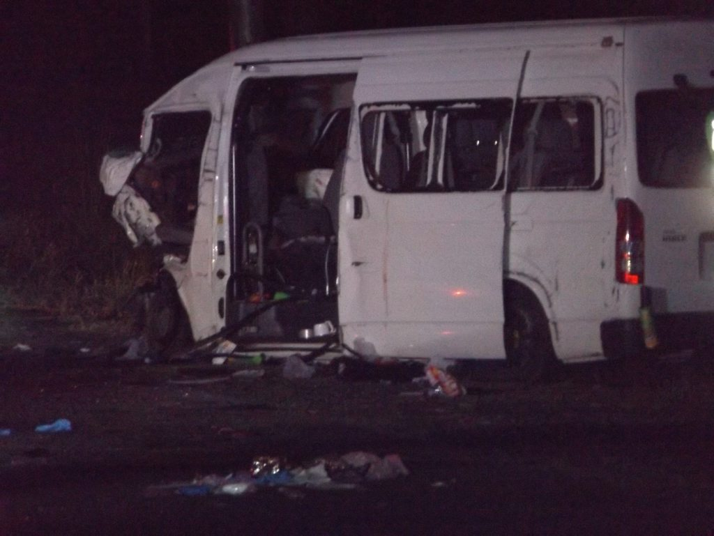 A mangled mini-van, which was carrying six young people on their way to a 21st birthday party, has been involved in a head-on crash on the Bruce Hwy south of Maryborough.