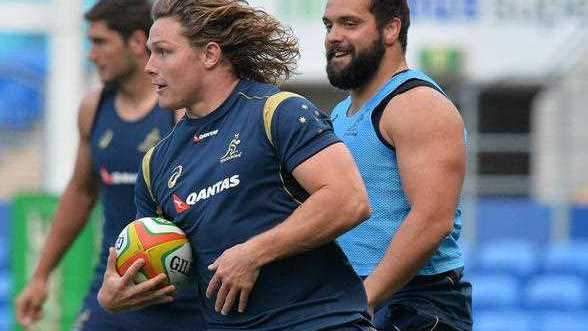 Australian Wallabies captain Michael Hooper runs during a training session at Robina Stadium on the Gold Coast, Friday, Sept. 12, 2014. The Wallabies play the Argentina Pumas in a Rugby Championship Test Saturday night.