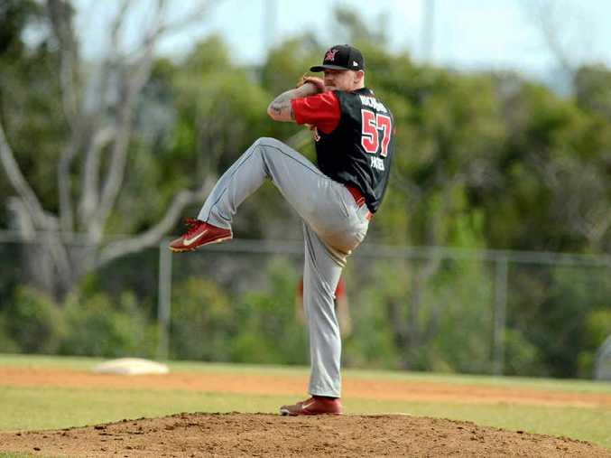 WINDING UP: Jason Britt pitching for Norths in the Far North Coast Baseball Major League grand final.