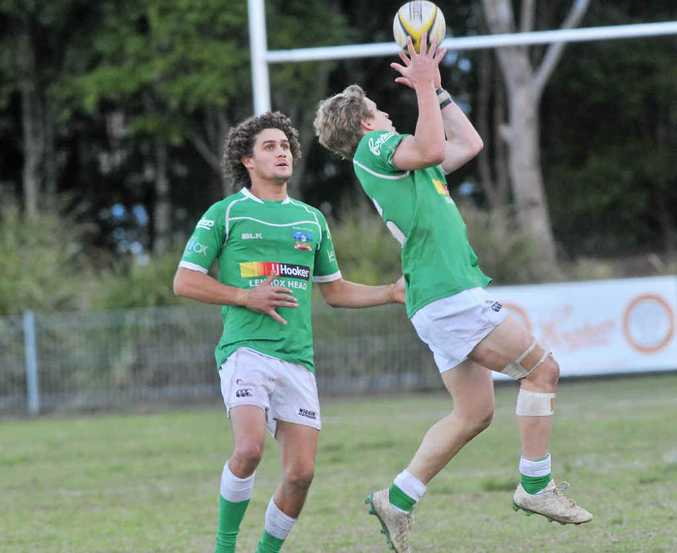 CLEANLY TAKEN: Lennox Head's Dan Boardman catches the ball mid-air during the grand final against Wollongbar.