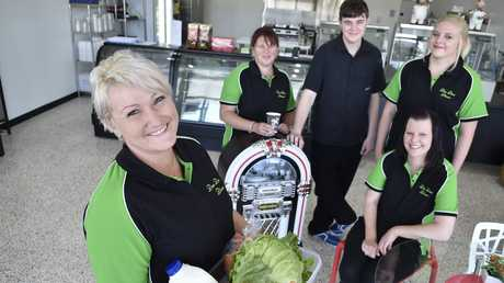 The Dee Dee's Diner's team of manager Kara Dolley and staff Kym Revill, Dylan Tye, Crystal Hill and Jess Linane.