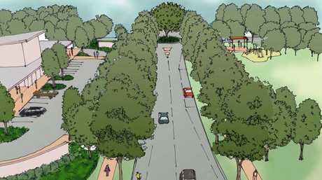 Artist renderings show the proposed shopping centre (left) and public park (right) at the subdivision's entrance.