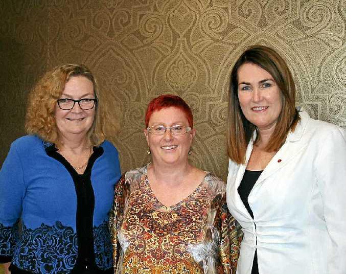 INFORMED: Labor Senator Jan McLucas, Lismore resident Cathy Ridd and Labor Senator Deborah O'Neill.