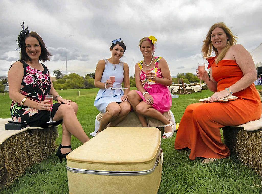 Bec Rawson, Brooke Burns, Coralie Elderidge and Sarra Lie having fun at the Koolyangarra garden party fundraiser.