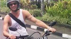 Mark Sansom, pictured here in Indonesia, died after falling from a balcony at a hotel at Bali.