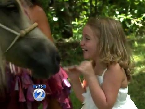 A SIX-year-old girl fighting leukaemia is treated to a mythical day including a 'real life' unicorn